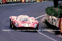 Ferrari 330P4 . Photo. Mike Parkes Le Mans test weekend 1967 , The Esses